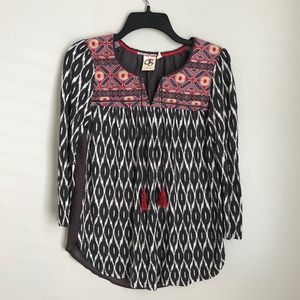 Anthropologie One September Ikat Embroidered Top